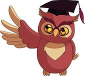 Cartoon Wise Owl with graduation c