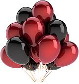 Birthday balloons colored black red