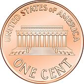 Vector American coin one cent, penny
