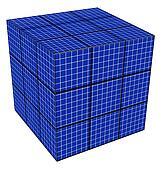 blue grid cube