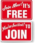 Join Now Free membership invitation signs