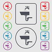 Washbasin icon sign. symbol on the Round and square buttons with frame.