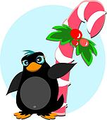 Penguin with Peppermint Sugar Cane