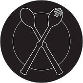 plateful, fork and spoon silhouett