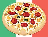 pizza on italian flag