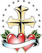 cross and heart tattoo