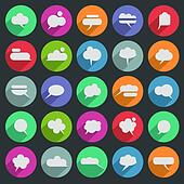 Message bubble icons with long shadow