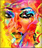 Colorful abstract woman's face