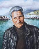 oil on canvas of a man with black leather jacket