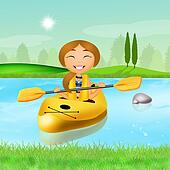 girl with a kayak