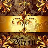 Menu design with heraldic elements