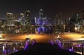 Dubai Marina illuminated at night, United Arab Emirates