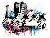 City graffiti background