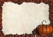 halloween autumn frame border with