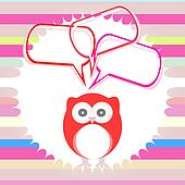 Cute kids background with owls and abstract cloud set