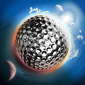 golf ball globe with sun and moon