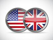 usa and uk union seals illustration design