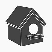 Birdhouse icon of rastr illustration for web and mobile