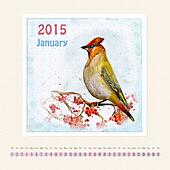 Calendar for january 2015 with bird, watercolor painting