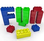 Fun Word Built with Toy Building Blocks