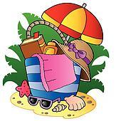 Cartoon beach bag with umbrella