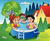 Garden with pool and cartoon kids