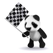 3d Baby panda bear waves the checkered flag
