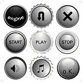 six glossy buttons