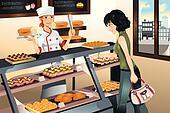 Buying cake at bakery store