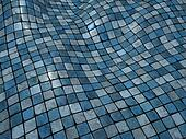 3d render blue wobble mosaic tile floor wall surface