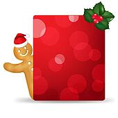 Gingerbread Man With Santa Hat And Blank Gift Tag And Holly Berry