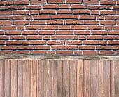 Wooden and brick wall