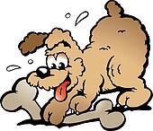 Puppy Dog with a big bone