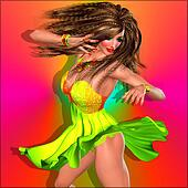 Female dancer,party girl, skirt.