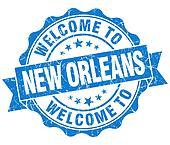welcome to New Orleans blue vintage isolated seal