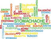 Stomachache multilanguage wordcloud background concept