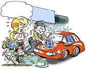 Mechanic polishes his car