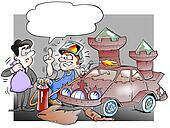 Mechanic rebuild a car from scrap to castle