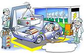 Electric car gets shift a large heavy battery