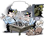 Cops playing chess - Thief is at stake