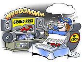 Mechanic watching television
