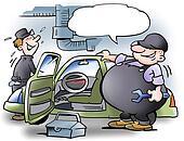 Fat man examining car