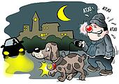 Dog and owner with red lights