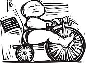 Fat Baby on tricycle