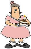 Chubby girl eating birthday cake