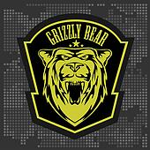 Grizzly bear head emblem.