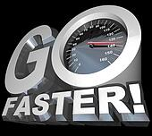 Go Faster Speedometer Racing to Successful Speed