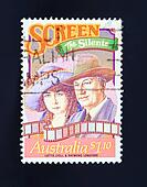 vintage stamp showing old  silent movies
