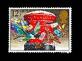 vintage stamp of christmas post box