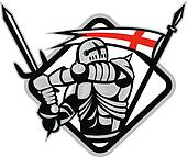 English Knight Fighting Sword England Flag Retro